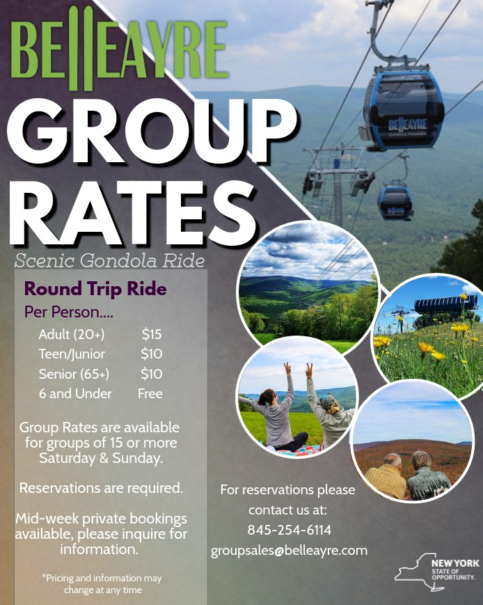 group rates are available for gondola rides for groups of 15 or more people