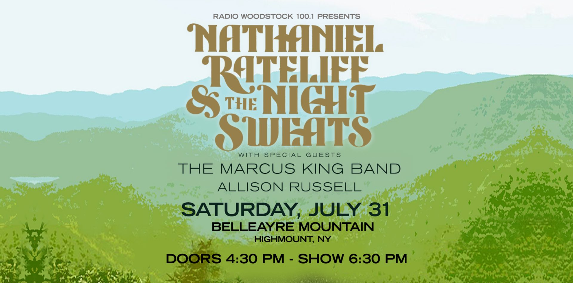 Nathaniel Rateliff Concert & the Night Sweats, July 31. Special Guests The Marcus King Band, Allison Russell. Doors open at 4:30pm - Show 6:30pm